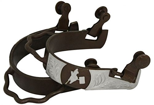 Barrel Racer Spurs (Ladies Size Antique Brown Bumper Spur with Silver Barrel Racer)