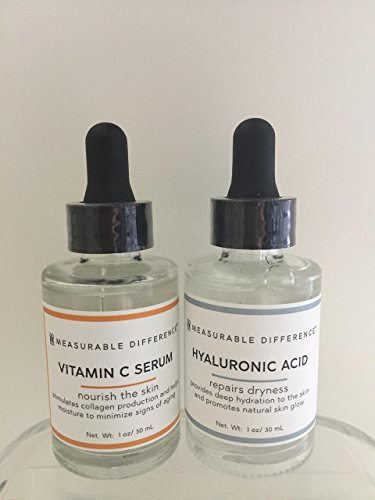 Bundle of MD Measurable Difference Vitamin C and Hyaluronic Acid Repairs Dryness face serum. 1 oz/30 ml each