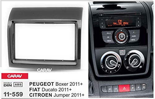 CARAV 11-559-L-6 Double DIN Car Radio Fascia Set for Jumper Boxer Ducato Piano Paint with Steering Wheel Remote Control