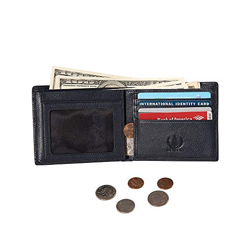 Yoomall Genuine Leather Credit Card Holder Case With Zipper Id Window Rfid Block