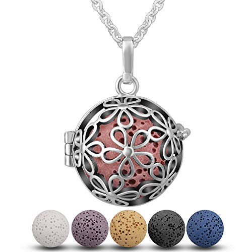INFUSEU Aromatherapy Essential Oil Diffuser Locket Pendant Necklace with 6 PCS Lava Rock Stones for Women Jewelry Set ()