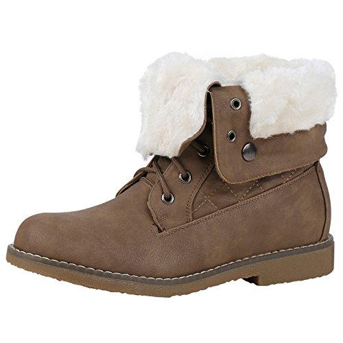 napoli-fashion Warm Gefütterte Damen Stiefeletten Outdoor Boots Kunstfell Stiefel Jennika Khaki Weiss