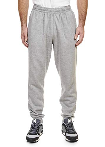 - Spalding Mens Basic Fleece Athletic Workout Jogger Pants with Ribbed Cuffs Heather Grey 2XL