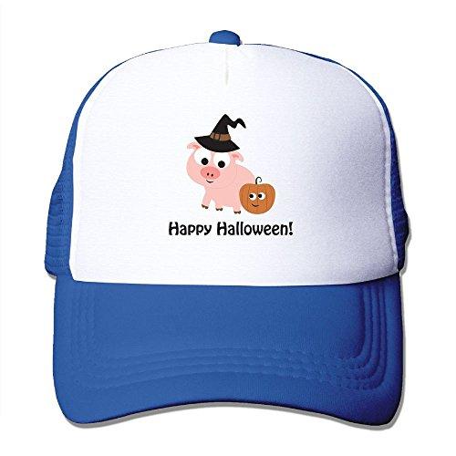 Vicop Happy Halloween Trucker Cap Summer Mesh Hat With Adjustable Strap RoyalBlue