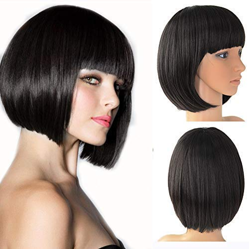 - Beauty Angelbella 160g Synthetic Straight Short Bob Hair Wig with Inclined Bangs (Black)