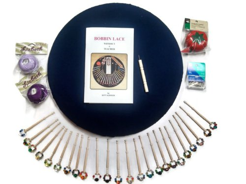 Bobbin Lace Kit with Beautiful Spangled Bobbins