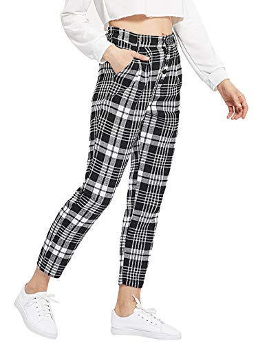 (DIDK Women's Plaid Print Pocket Detail Pants Black and White M)