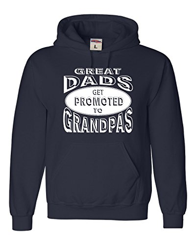 X-Large Navy Blue Adult Great Dads Get Promoted To Grandpas Funny New Dad Sweatshirt (New Grandpa Sweatshirt)