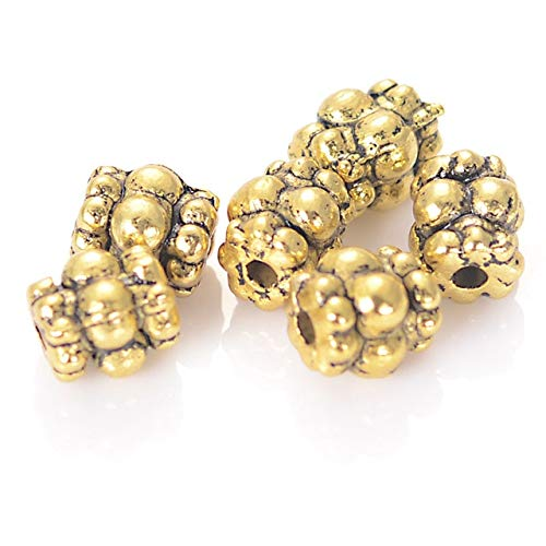 6MM Antique Gold Color Plating Tibet Hollow Metal Cast Loose Spacer Beads for DIY Jewelry Making Accessories - (Color: Antique Gold) ()