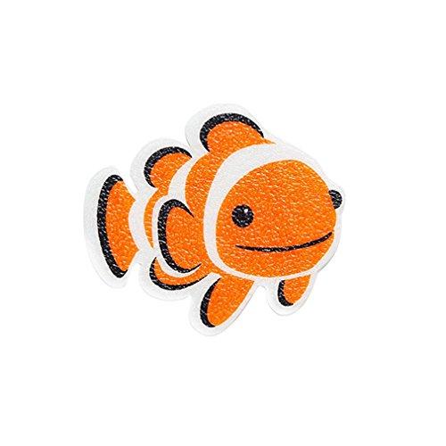 Kids Bathtub Appliques - Bathtub Shower Stickers Safety Treads Non Slip Applique Anti Skid (Orange Fish Nemo)