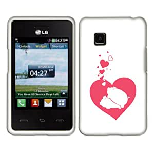 Fincibo (TM) Protector Cover Case Snap On Hard Plastic Front And Back For LG 840G - Honeymoon Pigs