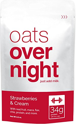 Oats Overnight - Strawberries & Cream - Premium High-Protein, Low-Sugar, Gluten-Free (3oz per pack) (12 Pack)