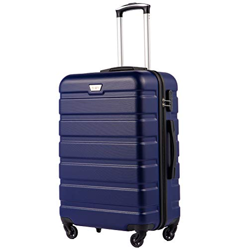 COOLIFE Suitcase Trolley Carry On Hand Cabin Luggage Hard Shell Travel Bag Lightweight 2 Year Warranty Durable 4 Spinner Wheels(Dark Blue, S(56cm 38L))