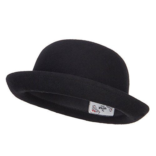 Wool Felt Upturn Brim Bowler Hat - Black OSFM