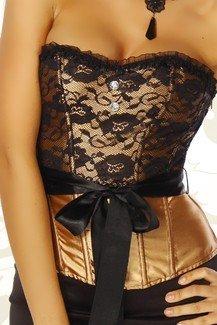 Vaacodor Donna Oro nero Da Gothic Corsetto rtx0qfnrS