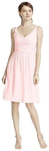 Short Chiffon V-Neck Bridesmaid Dress with Ruching Style F15603, Petal, 24