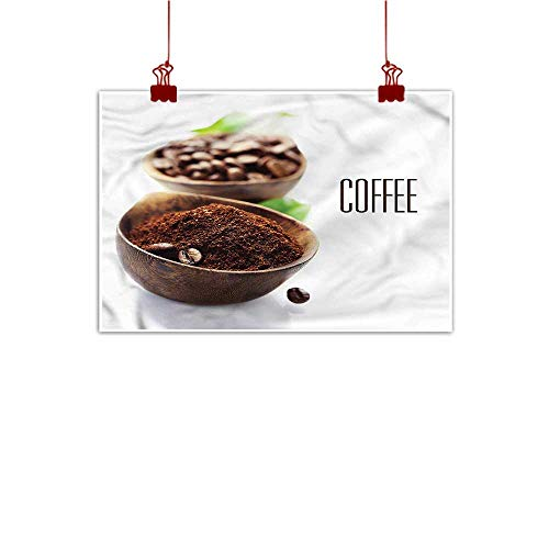 Sunset glow Wall Art Painting Print Coffee,Ground Coffe Wooden Bowl 24