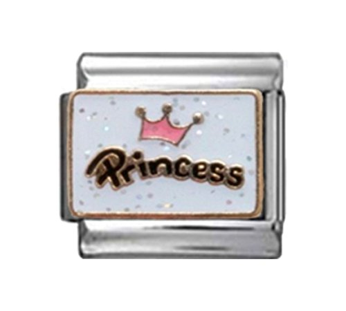 PRINCESS CROWN SPARKLE Enamel Italian Charm 9mm - 1 x NC131 Single Bracelet - Italian Traditional Charm