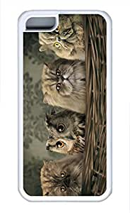 iPhone 5c case, Cute Cats And Owl iPhone 5c Cover, iPhone 5c Cases, Soft Whtie iPhone 5c Covers