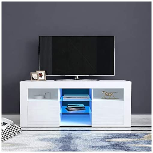 Living Room TV Stand High-Gloss LED Lights Media Console Modern Wood TV Desk Entertainment Center Table Storage Cabinet with 2… modern tv stands