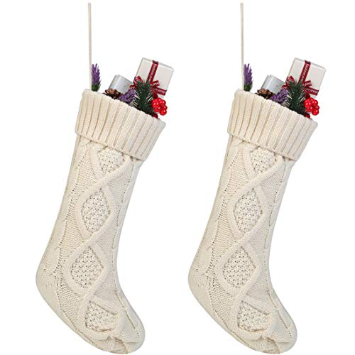 Free Yoka Cable Knit Christmas Stockings Kits Solid Color White Ivory Classic Decorations 18'', Set of 2]()