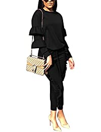 Women 2 Pieces Outfits Puff Sleeve Top and Long Flounced Pants Sweatsuits Set Tracksuits