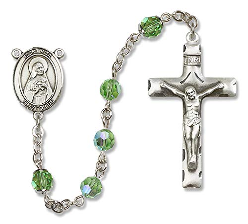 All Sterling Silver Rosary with Peridot, 6mm Swarovski, Austrian Tin Cut Aurora Borealis Beads. St. Rita of Cascia Center. St. Rita of Cascia is the Patron Saint of Loneliness/Impossible Dreams.