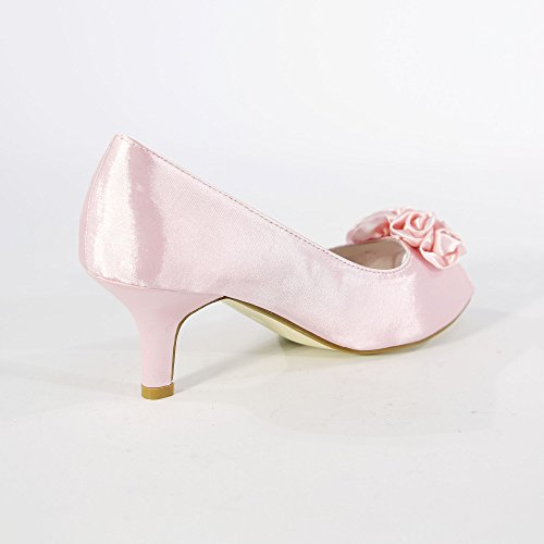 CORE COLLECTION Womens Ladies Low Satin Kitten Heel Shoes Bridal Wedding Prom Party Flower Shoes Pink zaFksPWW9
