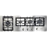 Verona VECTGM424SS 42 Designer Series Gas Cooktop With 4 Burner Design Front Controls Sealed Burners Heavy Duty Cast Iron Grates & Caps and 20 000 BTU tested in Stainless