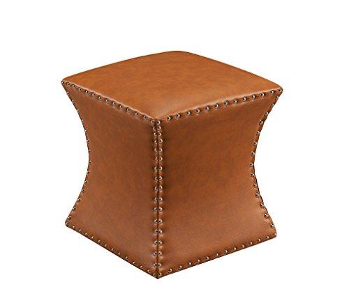 (Kings Brand Furniture - Nailhead Trim Upholstered Stool Ottoman, Brown )