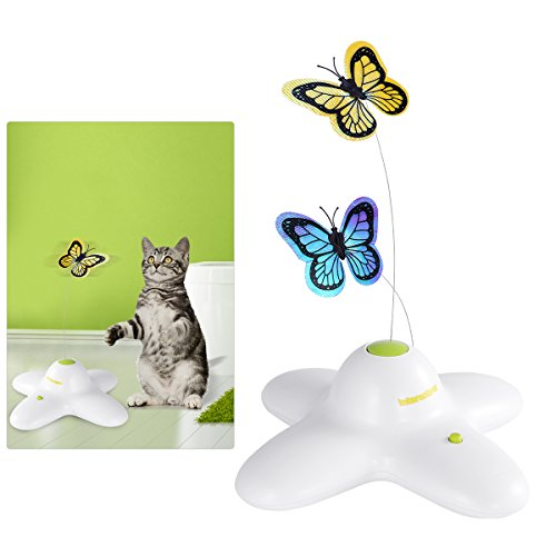 Butterfly Cat Toy - AFP Butterfly Interactive Cat Toy, Electric Rotating Cat Toy, Flashing Teaser Toy for Kitten Cat, with Replacement Butterfly
