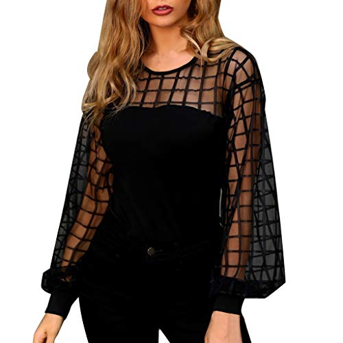 〓COOlCCI〓Women Stripe Lattice Mesh Sheer Long Sleeve Puff Solid Loose Blouse Tops Pullover Tops Elegant Slim Fit Shirts Black