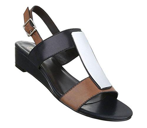 Damen Sandaletten Schuhe Pumps Abendschuhe Elegant Party Club High-Heel Keil Wedges Schwarz Weiß 36 37 38 39 40 41 Schwarz