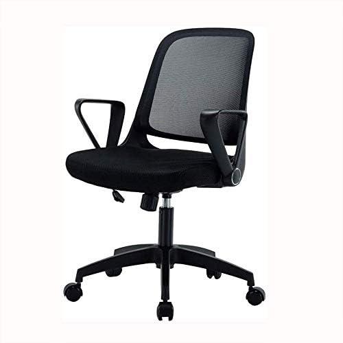 Barir アームレスト付きオフィスチェアミッド戻るスイベル腰椎サポートデスクチェア、コンピュータ人間工学に基づいたメッシュチェア
