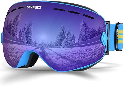 Soared Ski Snowboard Goggles Winter Snow Glasses Double-Layer Spherical Lenses UV400 Anti-Fog OTG Eyewear for Men Women