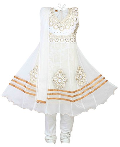 Salwar White Kameez - Ashwini Girls Netted Embroidery Yellow Salwar