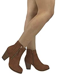 Arizona Faux Leather Boot With Stacked Chunky Heel Bootie and Zipper