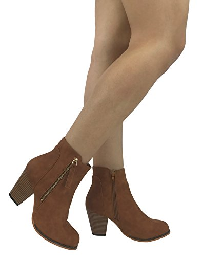 5dea3f0fb Arizona Faux Leather Boot With Stacked Chunky Heel Bootie and Zipper