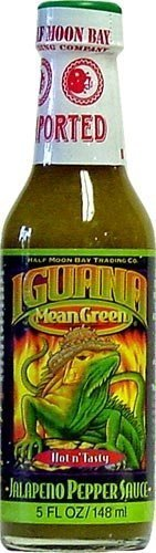 Iguana, Mean Green Hot Jalapeno Pepper Sauce, 5 Ounce Bottle by Half Moon Trading Company