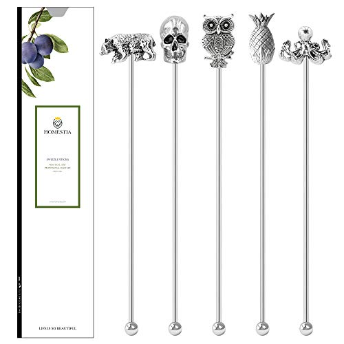 Homestia 5 Pcs Stainless Steel Coffee Stirrers Beverage Stir Sticks Reusable Swizzle Sticks with Decor Top Gift Set for…