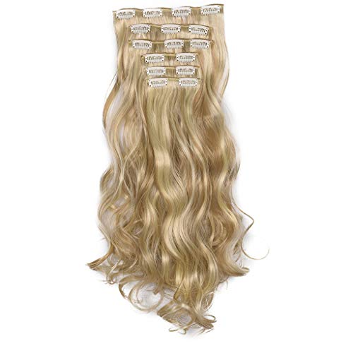 Honghii Clips Clip in Hair Extensions Long Wavy Curly Full Head Hairpiece Ponytail Clip Wavy Hairpiece (Hair Color To Make Hair Look Thicker)