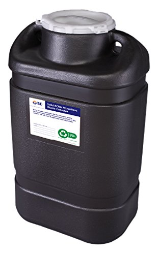 BD Medical Systems 305067 Black RCRA Hazardous Waste Collector with Open Top, 5 gal Capacity, 18'' x 10.5'' x 7.5'' Size (Pack of 8)