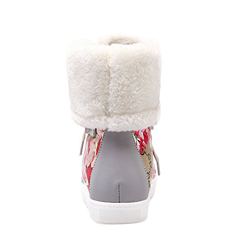 Warm Flat Lace AIWEIYi Shoes up Print Grey Snow Womens Fur Boots 0T0qxFS7