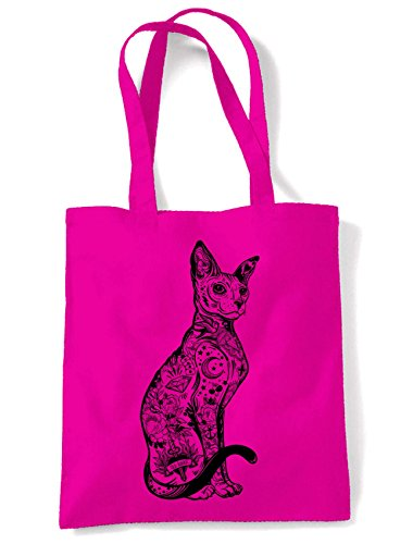 Shopping Tattoos Large Pink Bag Shoulder Hot Hipster Tote Print With Cat 0Zqx55