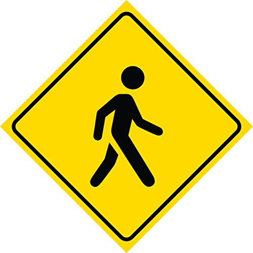 Yellow Diamond Caution Walking Pedestrian Person Crossing Signs Commercial Plastic Square Sign - Single Sign, 12x12 - Business People Walking