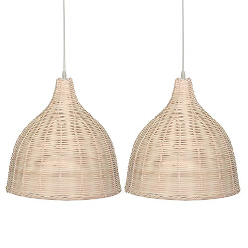 (KIRIN Bamboo Rattan Hanging Lamp E26 Pendant Light Nordic Chandelier for Kitchen Bedroom Living Room Restaurant Hotel Fixture 2 Pack (17.71