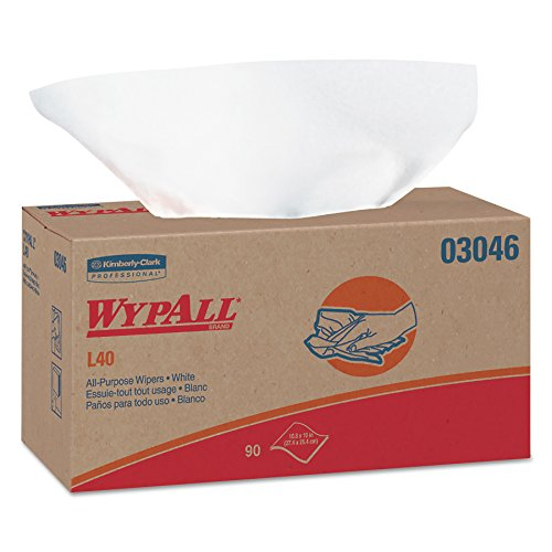 WypAll 03046 L40 Towels, POP-UP Box, White, 10 4/5 x 10, 90 per Box (Case of 9 Boxes)