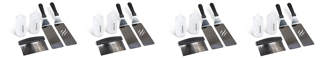 Blackstone. Signature Griddle Accessories - 5 Piece Professional Grade Grill Griddle BBQ Tool Kit with FREE Recipe Book - 2 Spatulas, 1 Chopper Scrapper and 2 Bottles (4-Pack)