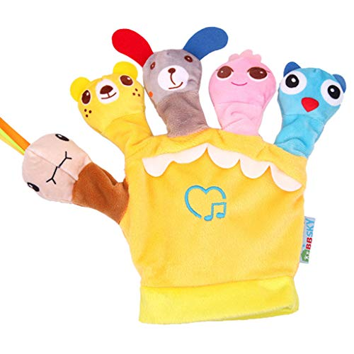 Wenini Animal Glove Puppet Plush Finger Cartoon Doll Story Telling Parent-Child Interaction Toy for Kids Fun (Yellow) ()
