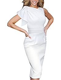 Women's Celebrity Elegant Ruched Wear to Work Party Prom...